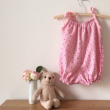 Light pink hearts cotton baby bubble suit, valentines day sunsuit, size 00 girls, 3 - 6 months baby clothing, summer baby romper