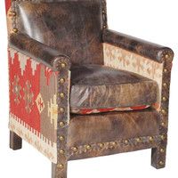 Aram Rustic Lodge Kilim Distressed Leather Arm Chair, Brown - Rustic - Armchairs And Accent Chairs - by Kathy Kuo Home