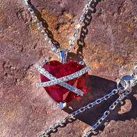 Women Real Silver Ruby Red Lab Diamond Heart Charm Set