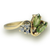 10k Yellow Gold Ring with Round Diamonds and Green Colored Stone