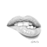 Desiderio / Desire - Lip Bite - Mouth Art Print by Giorgio Arcuri