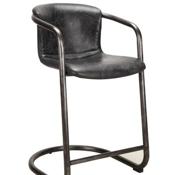 Freeman Modern Industrial Counter Stool Antique Black Distressed Leather (Set Of 2)