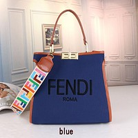 Fendi New Color Letter Shoulder Strap Pure Color Canvas Embroidered Letter Pattern Ladies Handbag Shoulder Messenger Bag