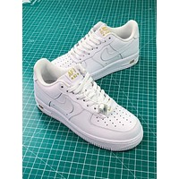 Nike Air Force 1 Af1 Low Crest Logo White Sneakers Shoes