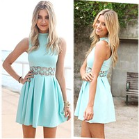 Fashion Lace High collar Bodycon Solid Color Sleeveless Mini Dress