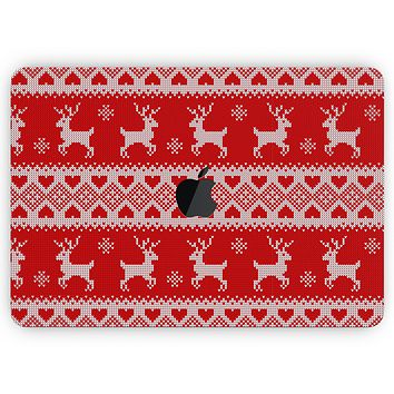 """Knitted Ugly Christmas Sweater V5 - Skin Decal Wrap Kit Compatible with the Apple MacBook Pro, Pro with Touch Bar or Air (11"""", 12"""", 13"""", 15"""" & 16"""" - All Versions Available)"""