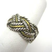 Vintage Sterling Braid Ring - Woven Sterling Silver and Brass
