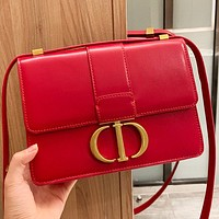 Hipgirls Dior New fashion solid color leather shopping leisure shoulder bag crossbody bag Red