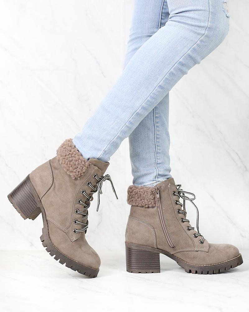 Image of Lace-Up Sweater Cuff Ankle Booties - more colors