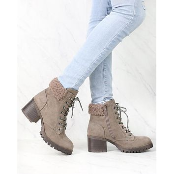 Lace-Up Sweater Cuff Ankle Booties - more colors