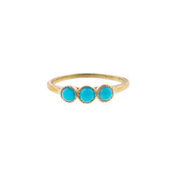 Three Stone Turquoise Ring - Yellow Gold