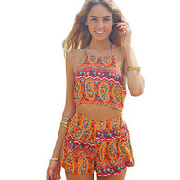 Women Sexy Vintage Straps Sunflower Print Jumpsuits Summer Pants Playsuits Shorts Romper Sexy Backless Chiffon