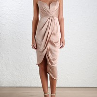 Sueded Silk Plunge Short Dress