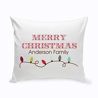 Personalized Holiday Throw Pillows - Xmas Lights