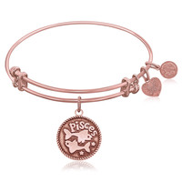 Expandable Bangle in Pink Tone Brass with Pisces Symbol
