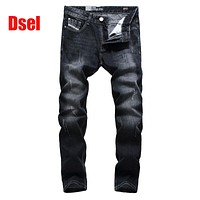 2017 New Original High Quality Dsel Brand Men Jeans Straight Fit Distressed Ripped Jeans For Men Dsel Brand Jeans Home,709-2