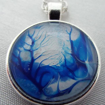 "Necklace, Free shipping, Handcrafted, Affordable, Jewelry, ""Blue Forest"", Blue,White , Design, Handmade, Silver, Gift, Abstract, Art"