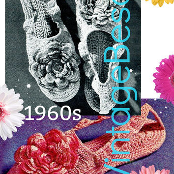 DIGITAL PATTERN • Slippers Crochet Pattern • Rosy Posy Slippers • 1960s Vintage • Small Medium Large • PdF Pattern • Retro House Shoes