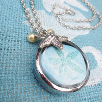 Pendant Necklace Beach Collage Silver