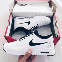 Tagre™ NIKE Women Men Running Sport Casual Shoes Sneakers White black hook