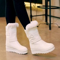 Rabbit Fur Women Wedges Snow Boots Mid Calf Winter Platform Shoes Woman 2016 3466