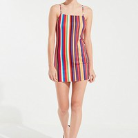 UO Rainbow Striped Mini Dress | Urban Outfitters