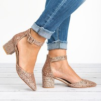 Irene Pointed Toe Pumps - Pink Glitter