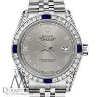Rolex 31mm Datejust SS Grey Roman Numeral Dial with Sapphire & Diamond Watch