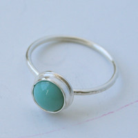 Tiny blue/turquoise glass cabochon and sterling silver ring