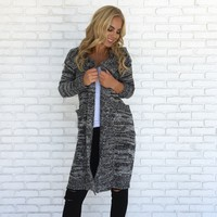 Bundle Up Knit Cardigan Coat In Grey