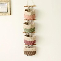 1PC Four color Cotton Linen Hanging Holder Storage Bags Sundry Wall Door Key Storage Bag Makeup Home Organizer
