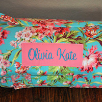 Nap Mat - Monogrammed Love Bliss Nap Mat with a Coral Minky Dot Blanket