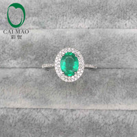 1kt white gold 1.27ct oval emerald pave si diamond engagement ring fine