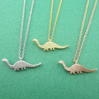 Brontosaurus Dinosaur Silhouette Prehistoric Animal Themed Charm Necklace