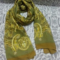 DCCKWA2 New VERSACE women scarf .Made in Italy. 90X200cm. Modal90%+Cashmere10%.