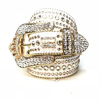 B.B. Simon 'White Gold Crown' Fully Loaded Swarovski Crystal Belt