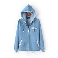 Denim Zipper Rivet Pocket Long Sleeve Drawstring Frayed Jacket