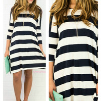 The Way It Goes Navy Striped Quarter Sleeve Dress