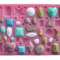 Gemstone Jewelry silicone Mold Fondant 3D silicone molds cakes for soap sugar craft tools