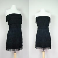 1990's black fringe dress strapless body con flapper dress 90's does 40's mini dress black dress short dress Size small to medium US 6 to 8