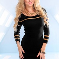 Black Long Sleeve Knit Dress with Gold Accent Stripes