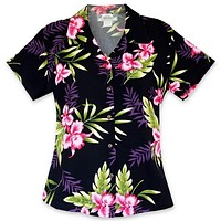 midnight black hawaiian lady blouse