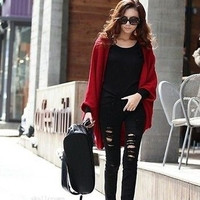 Women Loose Knitted Outwear Cardigan Shawl Coat Oversized Batwing Sleeve Sweater (Color: Red) = 1946674308
