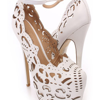 White Perforated Heels Faux Leather