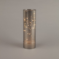 "11"" Smoke Metallic Glass Hurricane Fairy Lights"