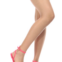 Neon Pink Studded Jelly Sandals