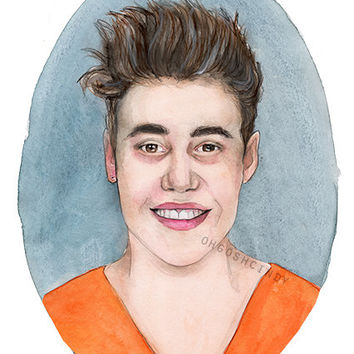 Justin Bieber mugshot watercolor portrait illustration