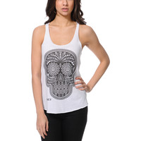 Obey Day Of The Dead White Racerback Tank Top