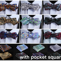 Floral Silk Woven Men Wedding Butterfly Pocket Square Diamond Point Tip Bow Tie Hanky Self BowTie Handkerchief Set ETA