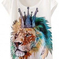 Crowned Lion Print Short Sleeve Graphic Tee